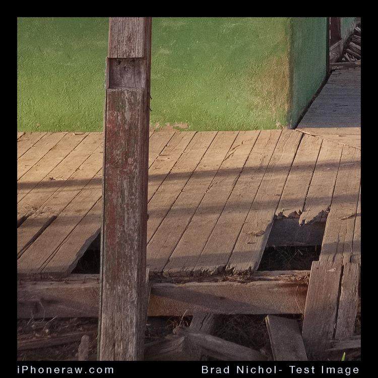 Crop from Verandah test image, iPhone 8Plus DNG,