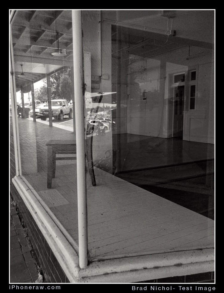 Monochrome conversions from iPhone 8Plus DNG, vacant shop interior Coolamon NSW