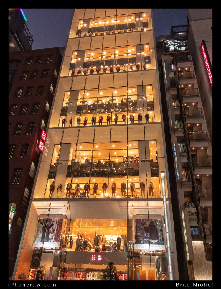 Multi level high end fashion display in Ginza strip