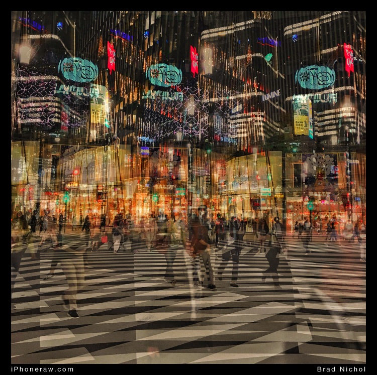 Multiple exposure, Tokyo plaza crossing, Tokyo Ginza district.