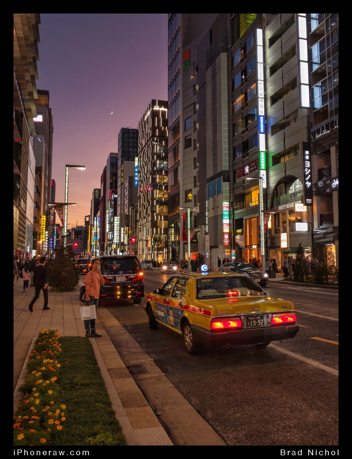 Ginza strip at Dusk, city lights and neon