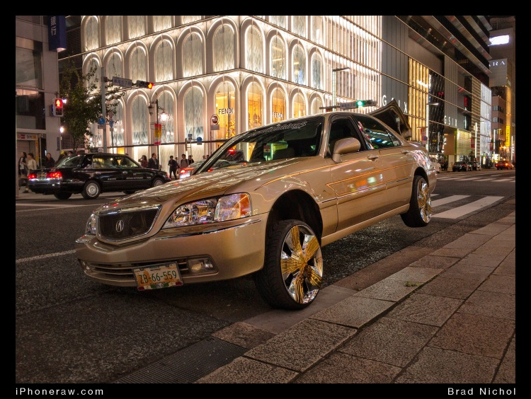 Lexus 430 on Ginza, air bags, gold, parked, jacked up