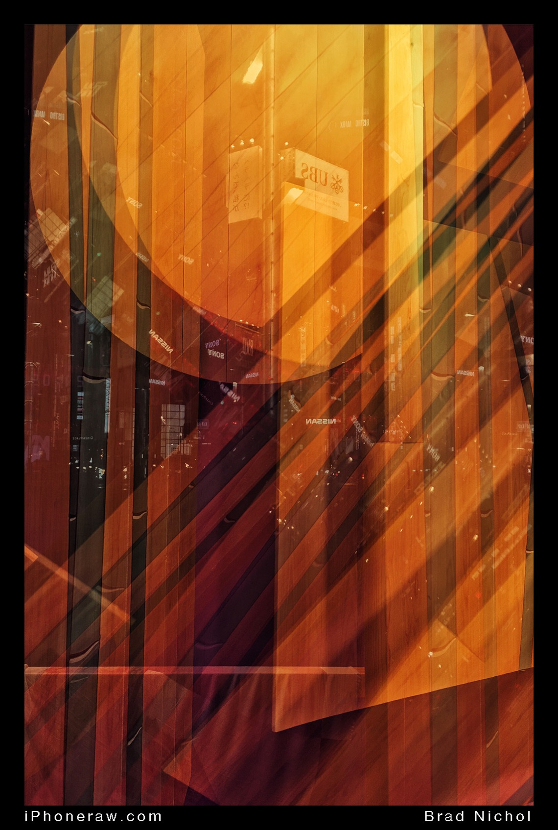 Abstract art, window display, orange tones, Ginza Tokyo, Japan