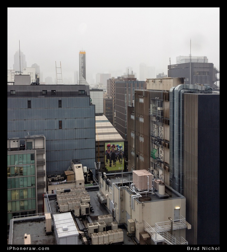Rain in Typhoon season, Ginza, Japan, from High rise.