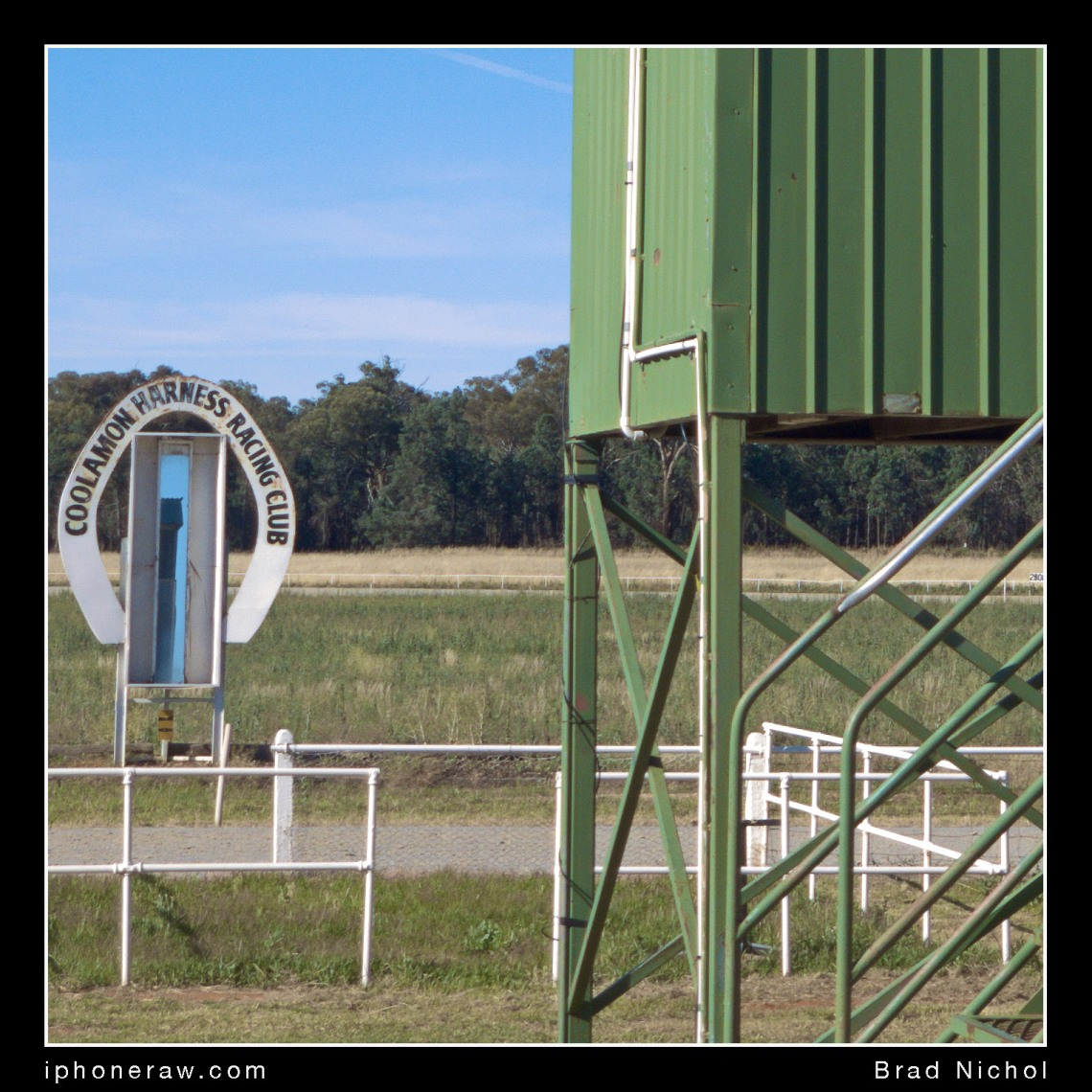 "Cropped image of test frame, ""Coolamon race Track"" showing fine detail and dynamic range under very bright sunlight, iPhone X telephoto lens module, TLC, edited image."